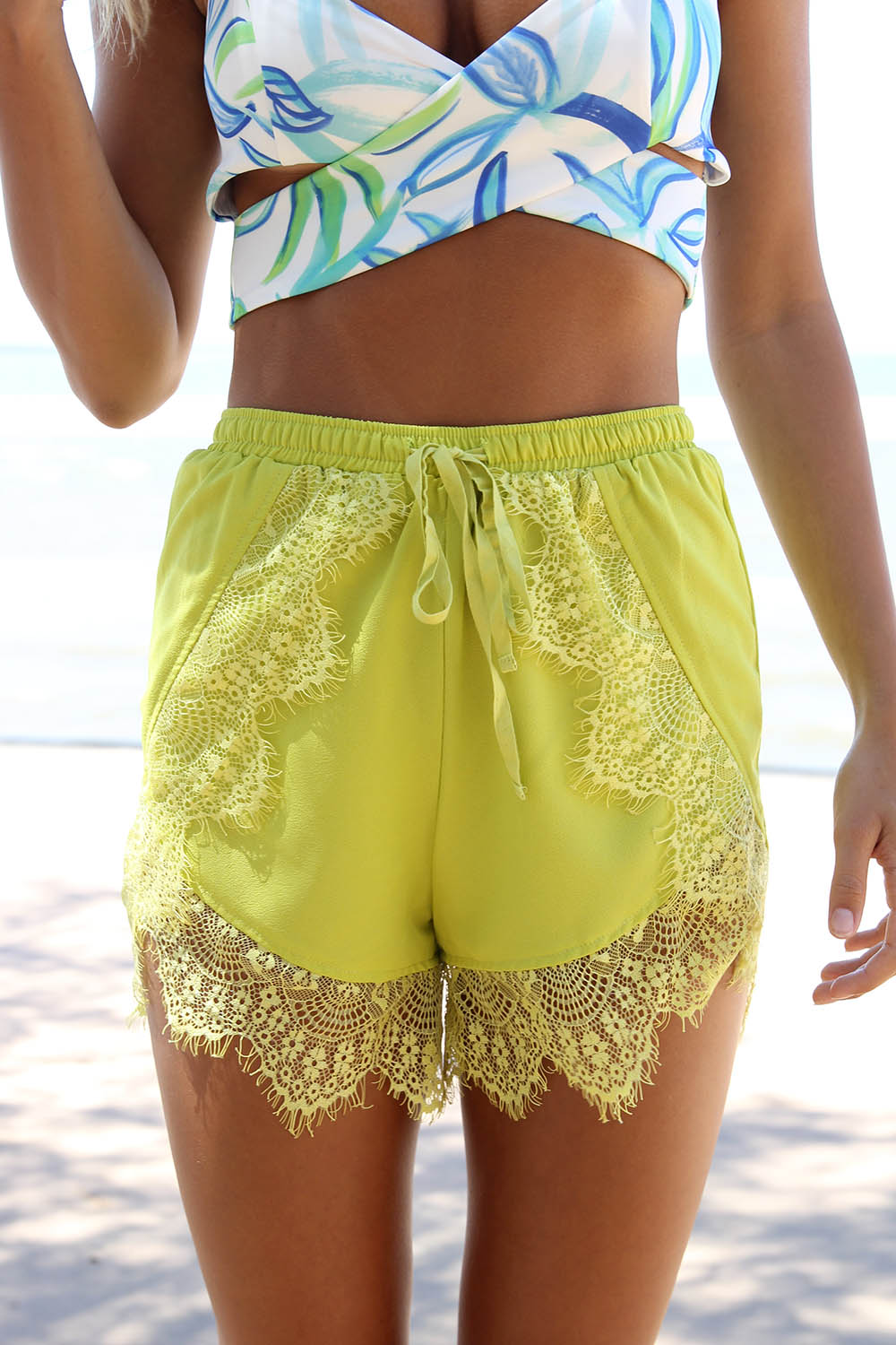 Green Shorts - Bright Olive Green High Waisted   UsTrendy