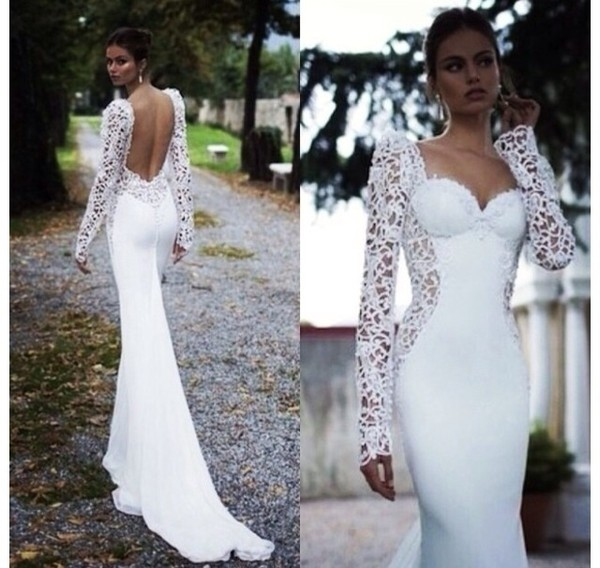 dress white desperate pram lovely fashion most beautiful ever seen long wedding beautiful arms weretoget white dress lace open back prom gown bridal