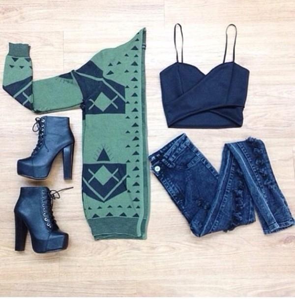 blouse tank top jeans shoes