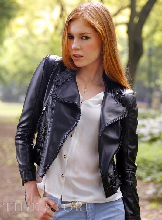 Fashion Black Slim Long Sleeve PU Jacket: tidestore.com