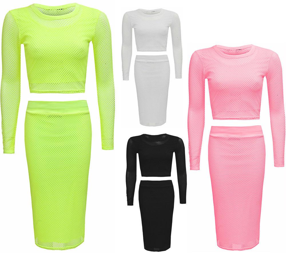 Womens Ladies Celeb Inspired Long Sleeve Fish Net Two Piece Crop Top Skirt Set   eBay