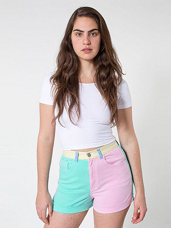 Color Block Stretch Bull Denim High-Waist Cuff Short | American Apparel