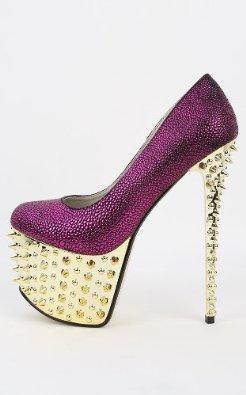 Amazon.com: Red Kiss Akara Snake Spiked Pumps FUCHSIA: Shoes