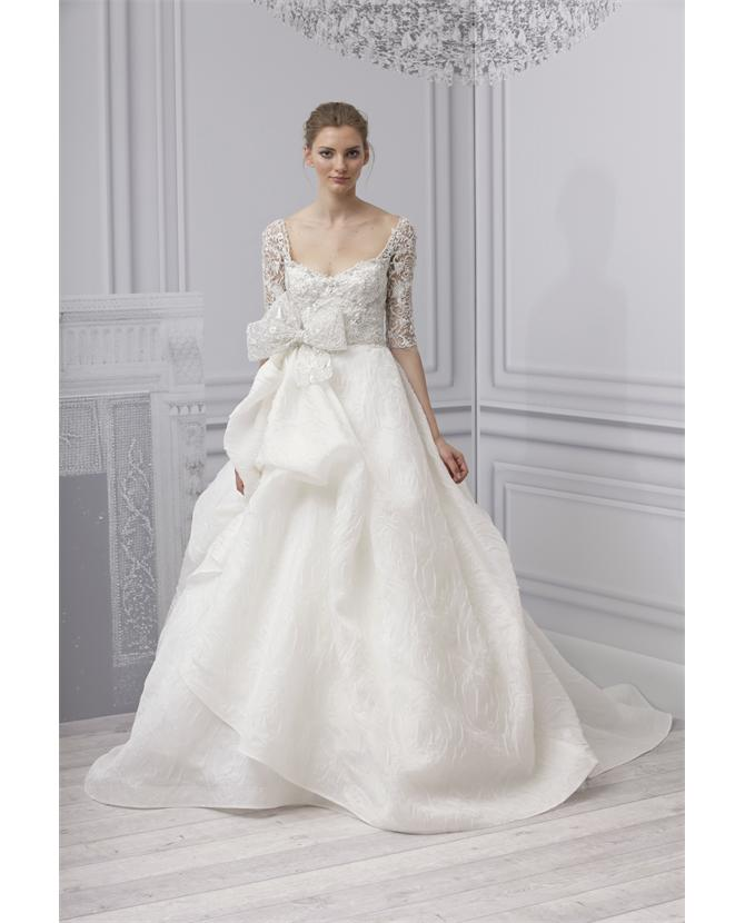 MONIQUE LHUILLIER | 'Royalty'  Lace Gown with Bow | Browns fashion & designer clothes & clothing