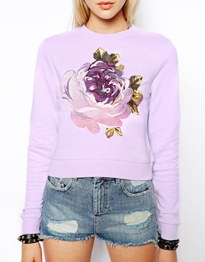 ASOS | ASOS Cropped Sweatshirt with Embroidered Flower at ASOS