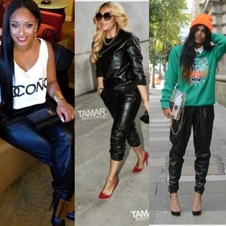 pants leather joggers sweatpants tracksuit fashion black designer shop clothes sexy look lookbook