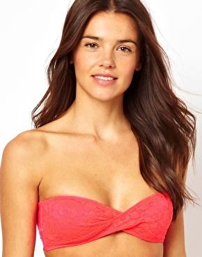 Playful Promises | Playful Promises Lace Overlay Twist Bandeau Bikini Top at ASOS