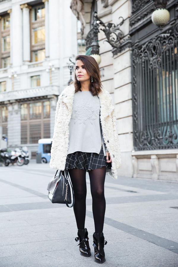collage vintage coat sweater skirt shoes bag jewels