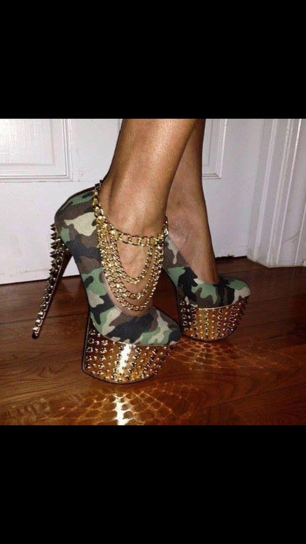 shoes high heels camouflage jewels