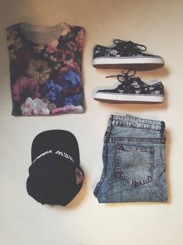 t-shirt floral floral t shirt black shirt shorts shoes