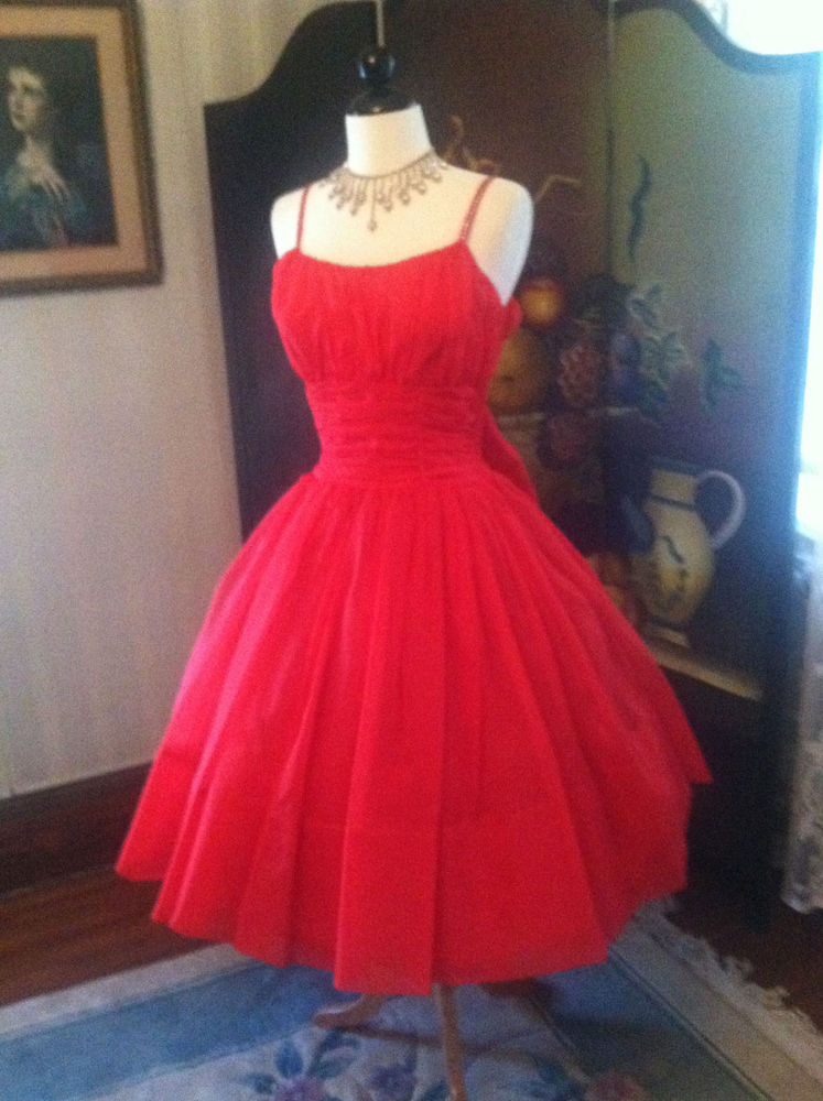 Red 1950's Vintage Valentines Party Prom Cocktail Dress w Rhinestone Straps | eBay