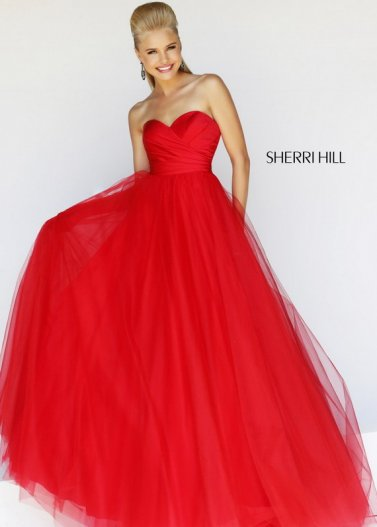 Red Strapless Pleated Sherri Hill 11066 Tulle Ball Evening Gown [Sherri Hill 11066 Red] - $185.00 : Prom Dresses 2014 Sale, 70% off Dresses for Prom