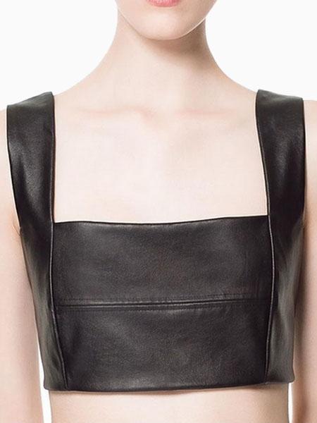 PU Bra Top With Zip Back | Choies