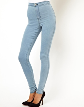 ASOS | ASOS Uber High Waist Denim Jeggings in Light Wash at ASOS