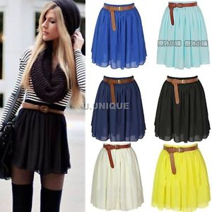 Womens Vintage Elastic High Waist Pleated Double Layer Chiffon Mini Skirts Dress   eBay