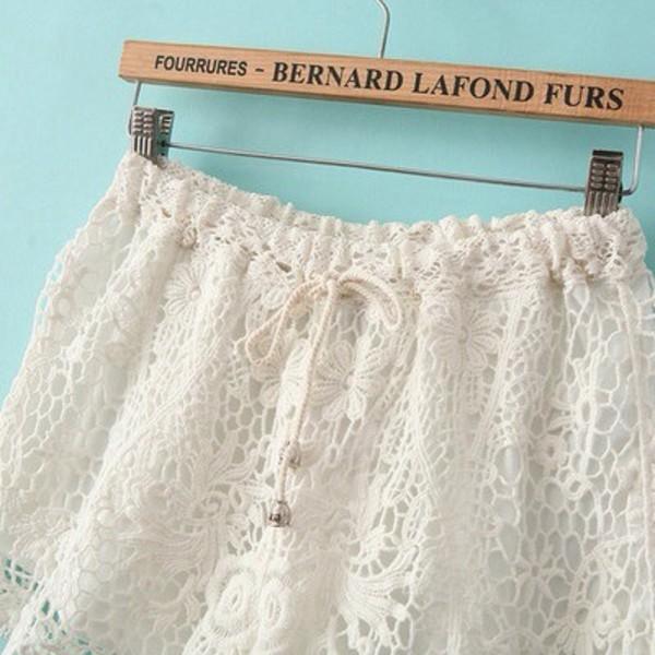 shorts lace shorts white