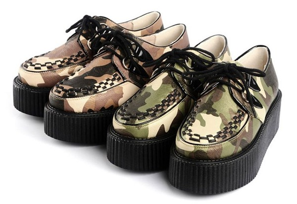 shoes camouflage creepers flats fashion clothes platform shoes military style