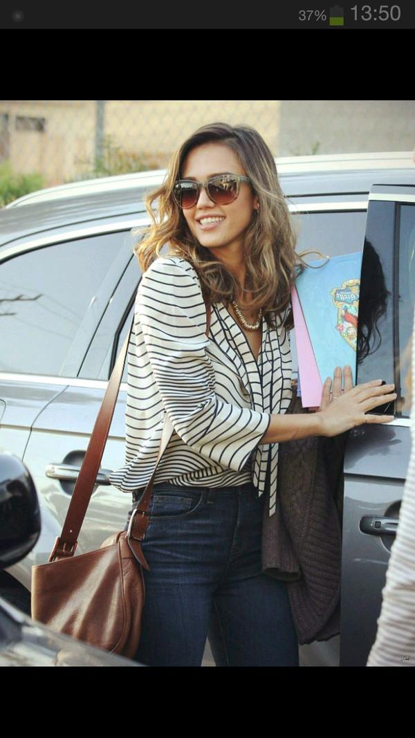 bag jessica alba brown leather bag brown leather bag blouse