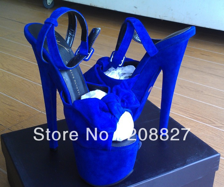 2013 newest coming summer hot sell bow butterfly suede high heel sandals 18cm royal blue suede free shipping real photos-in Pumps from Shoes on Aliexpress.com