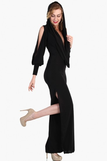 LoveMelrose.com From Harry & Molly | Slash Open Side Jumpsuit - Black