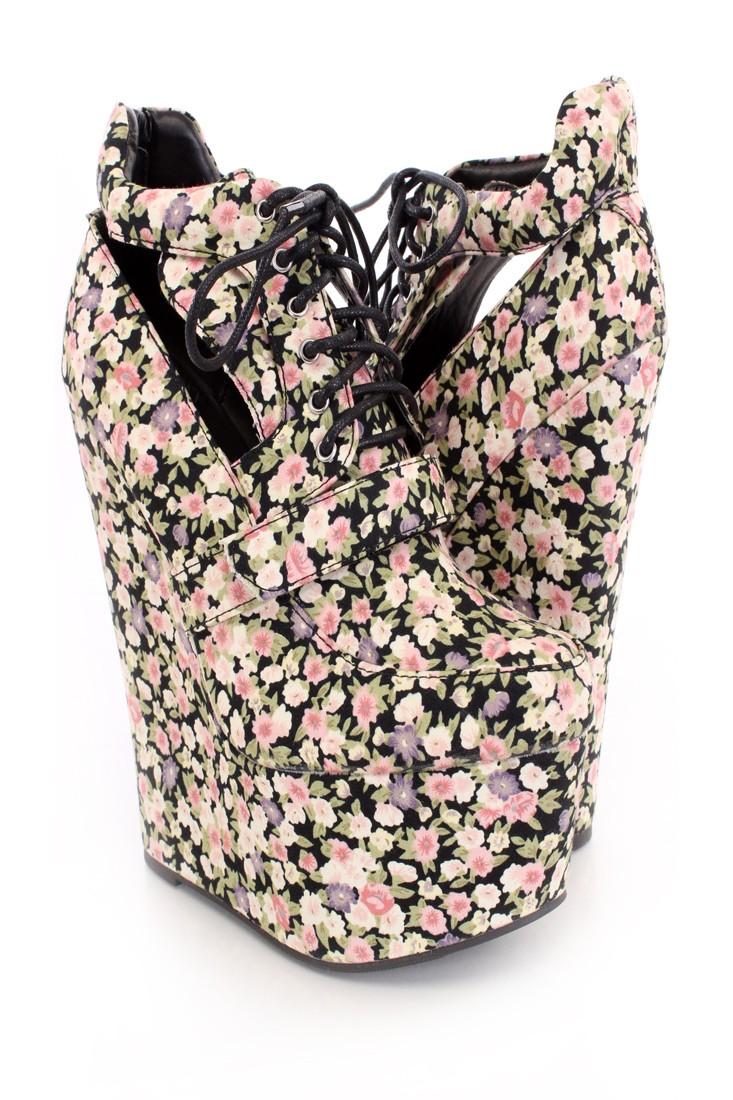 Pink Black Lace Up Cutout Wedges Floral Canvas