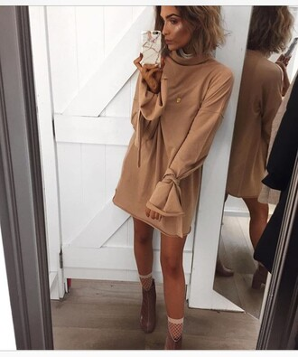 dress caramel short long sleeve dress nude nude dress caramel dress long sleeves