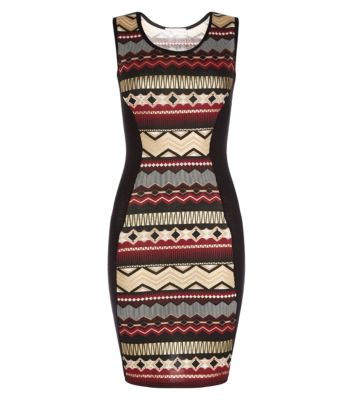 Cameo Rose Red Aztec Print Bodycon Dress