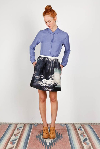 carven skirt print grey skirt