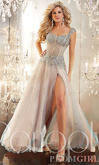 Prom Dresses, Celebrity Dresses, Sexy Evening Gowns - PromGirl: Sheer Corset Style Long Prom Dress by Panoply