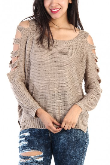 OMG SIDE CUT OUT KNIT SWEATER - CAMEL