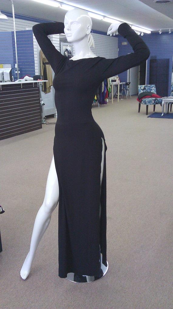 Black Longer Lengths Dress - Double Side Slit Maxi Dress   UsTrendy