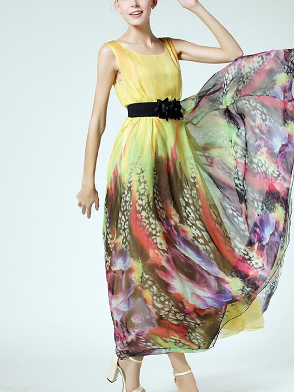 Bohemian A-line Multicolor Silk Print Maxi Dress : KissChic.com