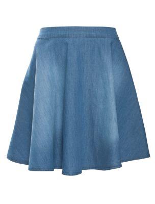 Mid Blue Denim Skater Skirt