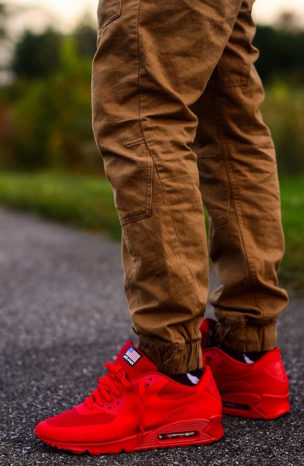 shoes red air max fly pants