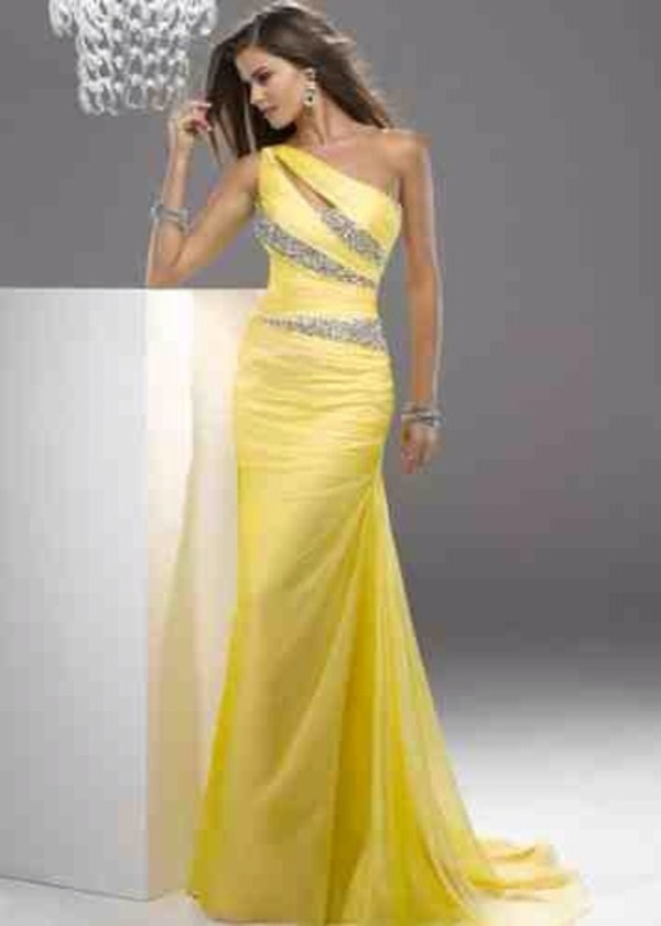 dress yellow fitted and long evening gown