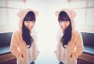 bear hood soft ulzzang cream korean fashion asian young girl