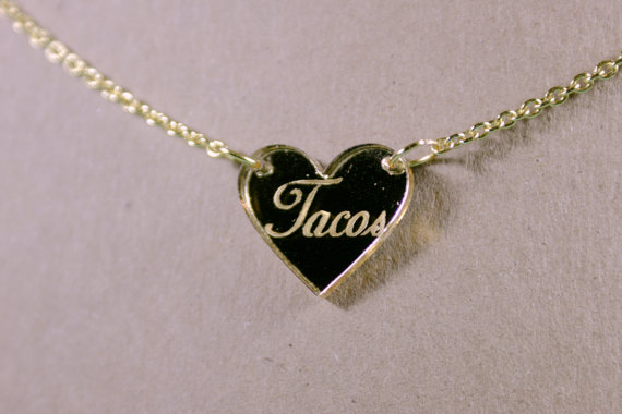 Tacos Heart Gold Mirror Acrylic Necklace by supah on Etsy