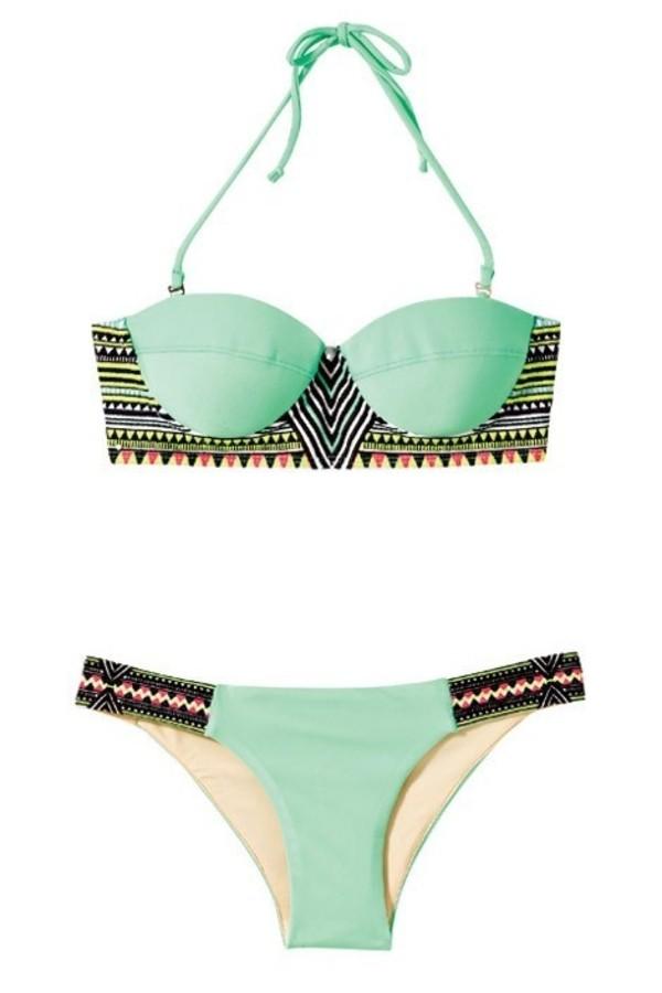 swimwear mint tribal pattern swimwear aztec turquoise bikini swimwear pattern cute summer girl mint aztec swimwear beach trendy hot fashion style zaful
