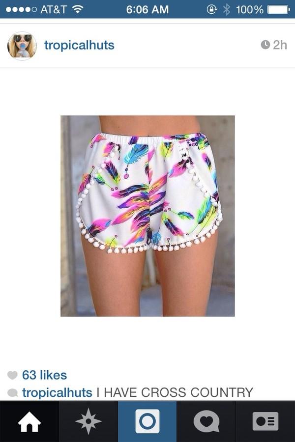 shorts pom pom shorts cute white colorful shorts
