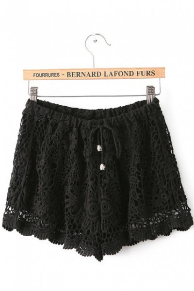 KCLOTH Crochet Lace Chiffon Short (Black / White / Red)
