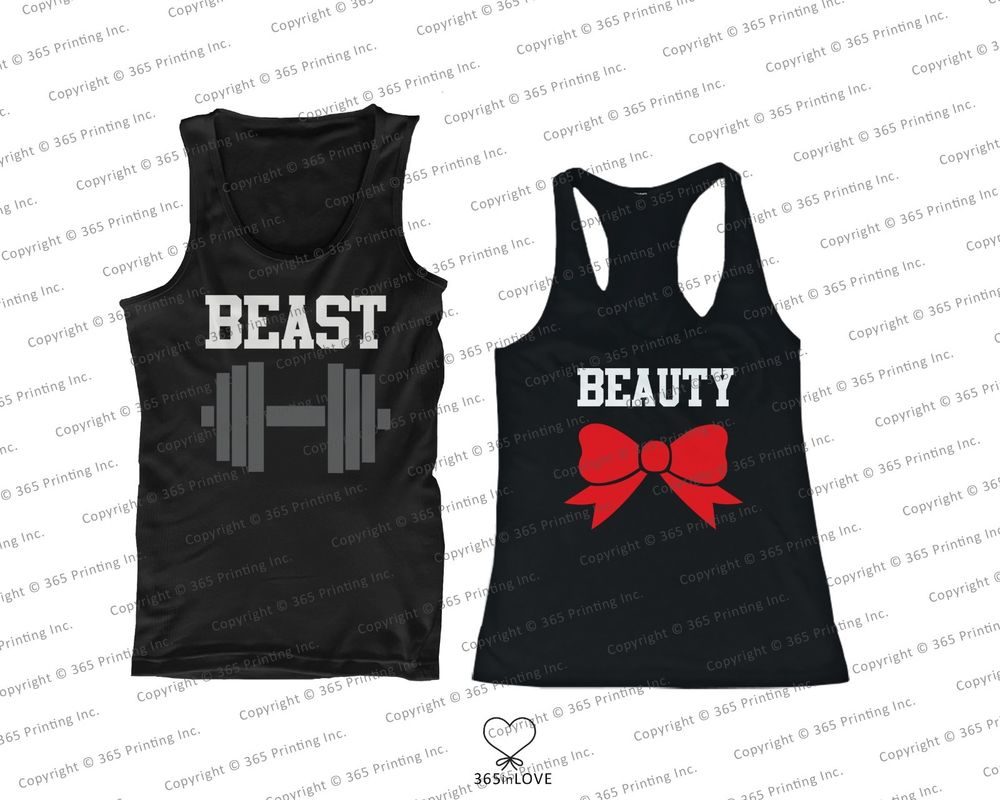 His and Her Matching Tank Tops Beauty and Beast Sleeveless Tops for Couples | eBay