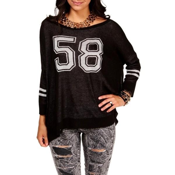 Black Oversize '58' Football Sweatershirt - Polyvore