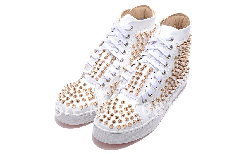 hot sale Men/Women free shipping Flat gold sticker Spikes white lambskin High Top studded fashion red sole casual a zip sneaker-in Flats from Shoes on Aliexpress.com