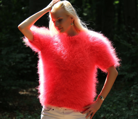 New hand knitted mohai rvintage sweater in neon red by supertanya