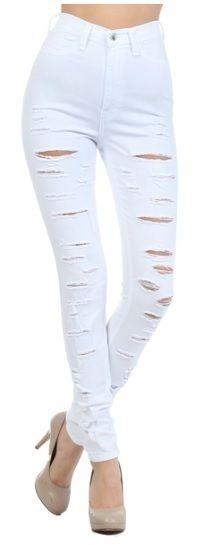 High Waist White Distressed Ripped Multiple Slashed Skinny Denim Jeans   eBay