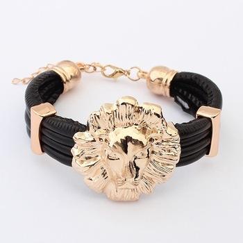 Min. order is $10(mix) leather lion bracelet fashion stretch statement bracelets for women 2013 jewelry wholesale-in Statement Jewelry from Jewelry on Aliexpress.com