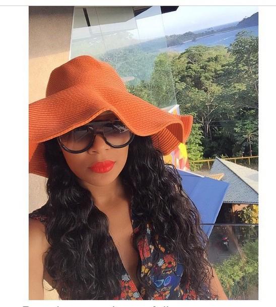 hat orange sunglasses sunhat monica