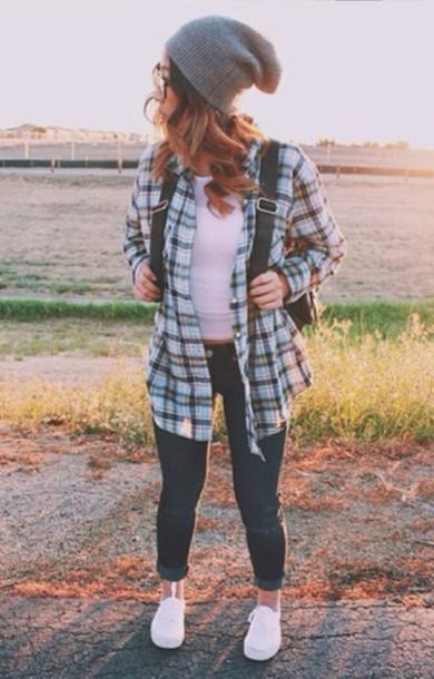 shirt plaid shirt plaid shirt crop tops beanie jeans