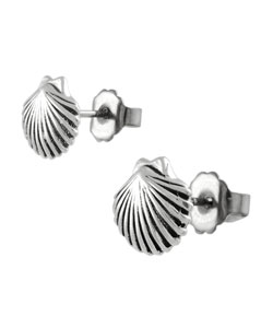 Tressa Sterling Silver Clam Shell Stud Earrings | Overstock.com Shopping - The Best Deals on Children's Earrings