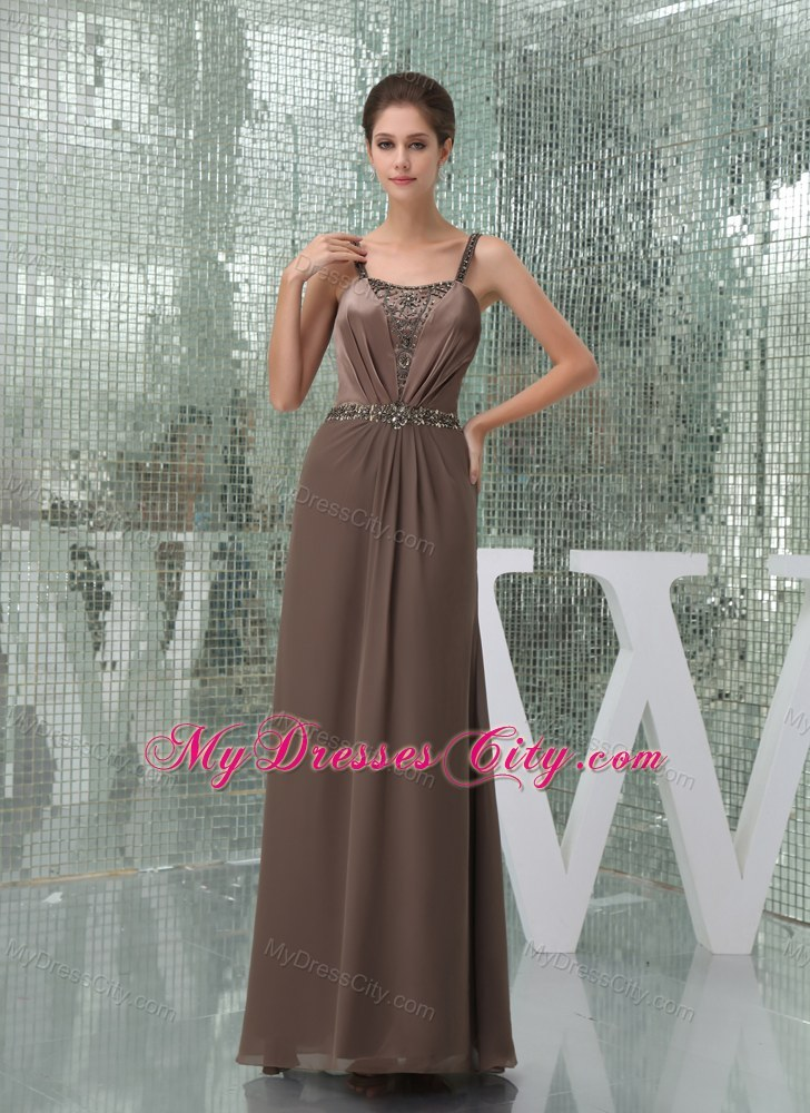 Beaded Decorate Straps Long Mother of the Bride Dress with Sash - MyDressCity.com